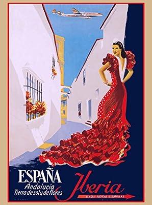 Andalucia Spain Spanish Europe Iberia Air Vintage Travel Advertisement Poster