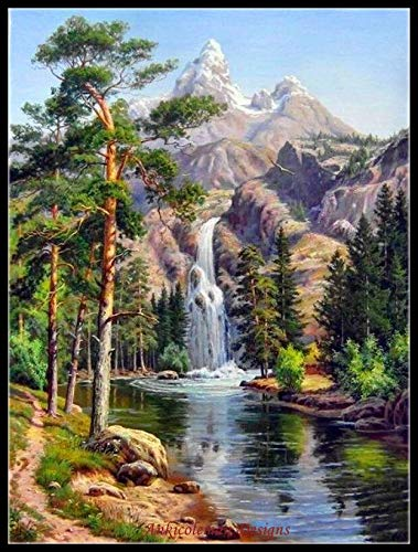 Zamtac Needlework for Embroidery DIY French DMC - Counted Cross Stitch Kit 14 ct Oil Painting - Waterfall in The Mountains - (Cross Stitch Fabric CT Number: 14CT)