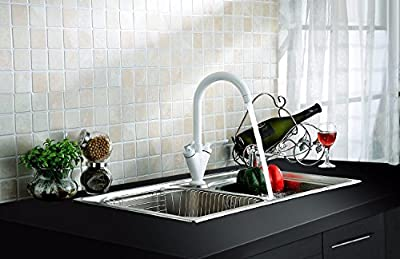 TAPCET Modern Oil Rubbed Bronze Matte Black Copper Two Handles Kitchen Sink Faucet Mixer Tap kitchen sink tap Comes with Hot and Cold Water Black Black