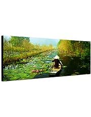 Panoramabild sur toile avec châssis 120 x 40 cm viêt nam forêt fleuve nénuphars holzboot brouillard