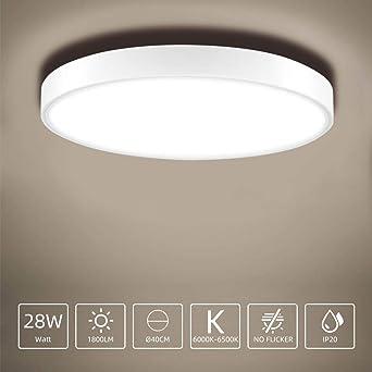 28W LED Lámpara de Techo, Sararoom Plafon led de Techo Φ40cm ...