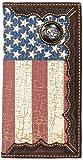Custom Cowboy Church, Praying Cowboy American Flag Long Wallet with Distressed United States Flag