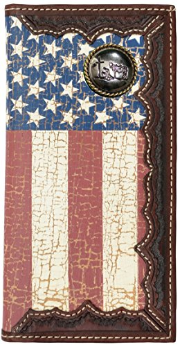 Flag Long Wallet - Custom Cowboy Church, Praying Cowboy American Flag Long Wallet with Distressed United States Flag