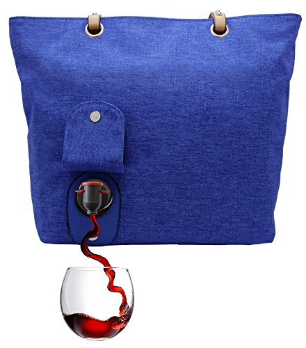 PortoVino City Wine Tote (Royal) - Fashionable Wine Purse with Hidden, Insulated Compartment, Holds 2 bottles of Wine!