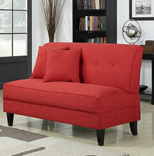 Contemporary Sofa Loveseat - This Upholstered Couch Is Made of Wood and Linen Material - Perfect Seat for Your Bedroom, Living Room - Free Toss Pillows - 1 Year Warranty! (Cherry Linen) by Mercury Row