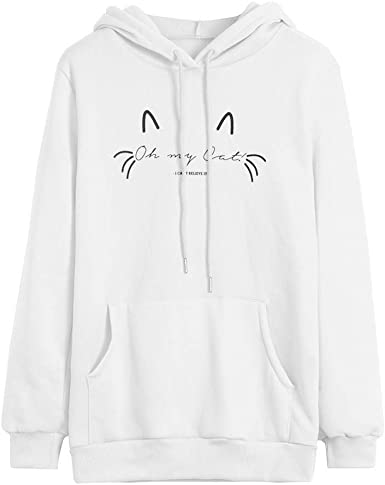 WM /& MW Novelty Graphic Sweatshirt for Womens Casual Loose Long Sleeve Hoodie Pullover Hooded Tops Jumper Blouse