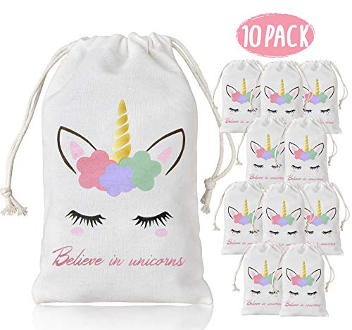 KREATWOW Unicorn Party Favor Bags for Kids Birthday Party Decoration 10 Pack