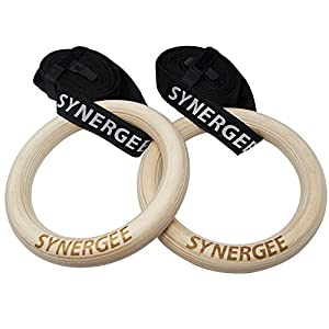 "iheartsynergee 9.25"" Ring Diameter 1.25"" Grip Wood Olympic Gymnastics Rings with Adjustable Straps for Crossfit Pull Up 