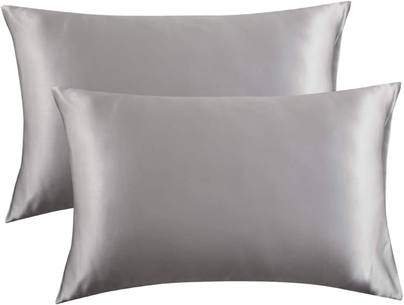 Bedsure Satin King Size Pillow Cases Set of 2, Silver Grey, 20x40 inches - Pillowcase for Hair and Skin - Satin Pillow Covers with Envelope Closure