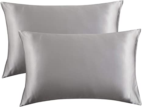 2x Soft Polyester Pillow Case for Hair and Skin Luxury Pillowcase 51x66cm Grey