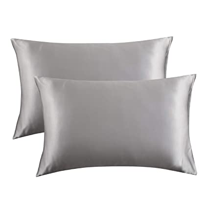 Bedsure Satin Pillowcase for Hair and Skin, 2-Pack - Queen Size (20x30  inches) Pillow Cases - Satin Pillow Covers with Envelope Closure, Silver  Grey