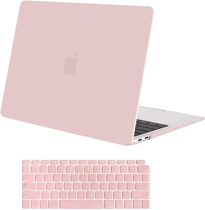 MOSISO MacBook Air 13 inch Case 2020 2019 2018 Release A2179 A1932 with Retina Display, Plastic Hard Shell Case & Keyboard Cover Only Compatible with MacBook Air 13 with Touch ID, Rose Quartz