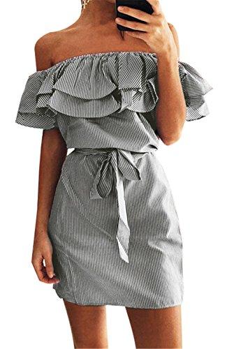 Sexy Short Sleeve Off The Shoulder Ruffled Ruffle Hem Striped Stripe Waist Belt Belted Mini Bodycon Dress White Black L (Belted Mini Belt)