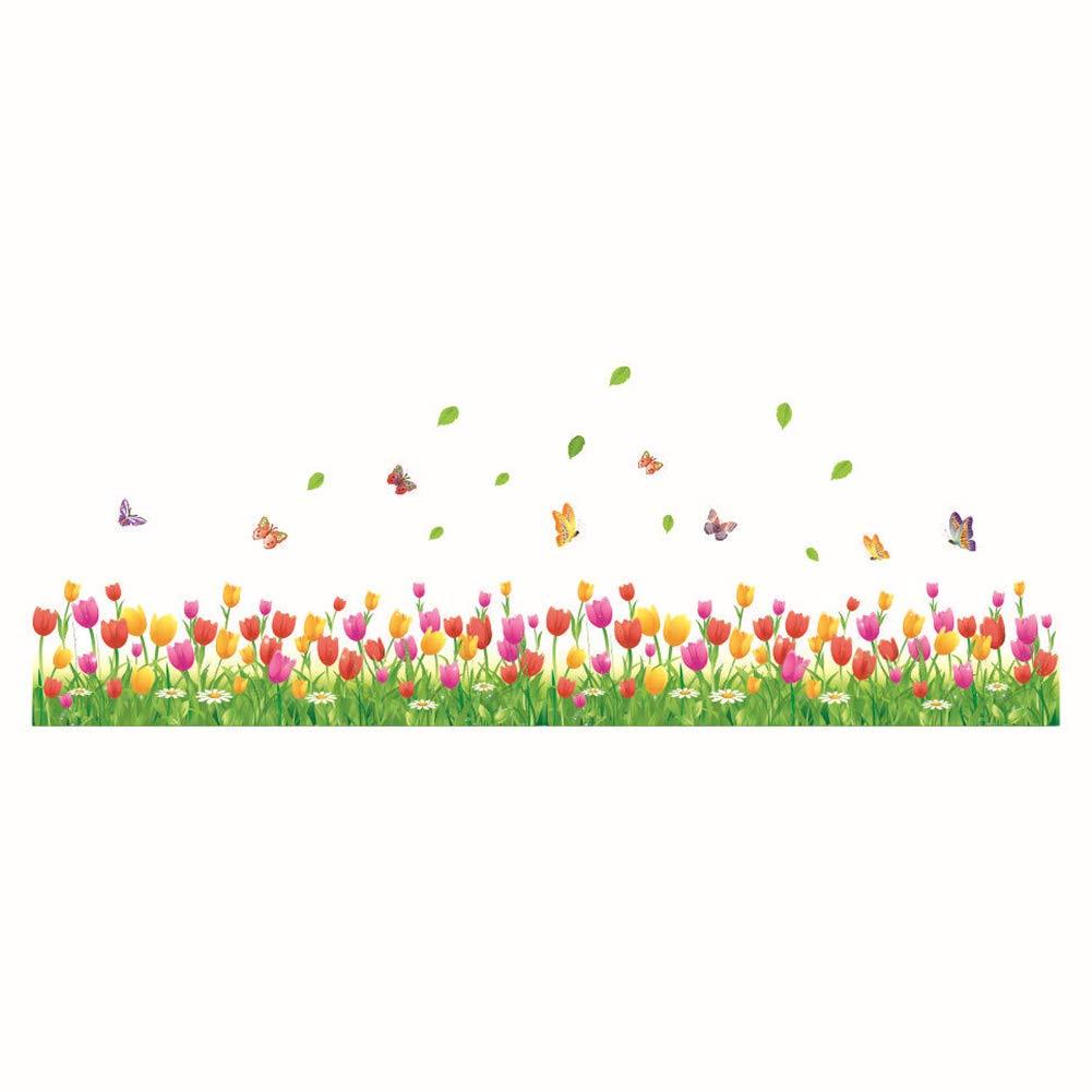 Ruikey Tulip/án Pegatinas De Pared Verde C/ésped Decoraci/ón Etiqueta De La Pared Pegatina De Pared Vinilo Adhesivo Decorativo Para Habitaciones Sala De Estar Y Ventana