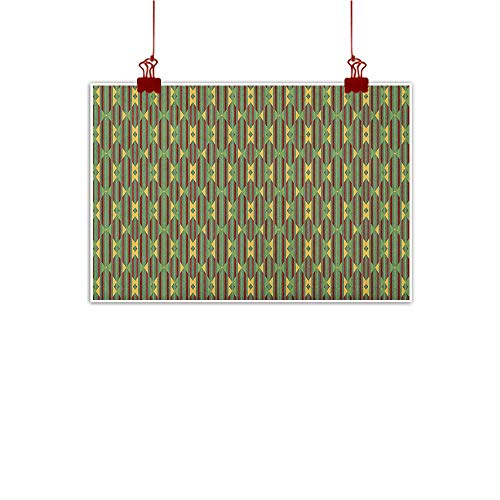 Sunset glow Home Wall Decorations Art Decor Kente Pattern,Retro Revival Diamond Line Pattern with Vertical Stripes, Sea Green Mustard and Ruby 24