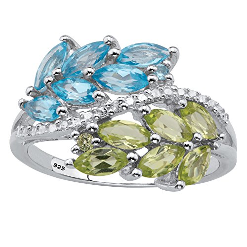 Brilliant Cut Peridot Ring - Platinum over Sterling Silver Marquise Cut Genuine Blue Topaz and Peridot Ring Size 7