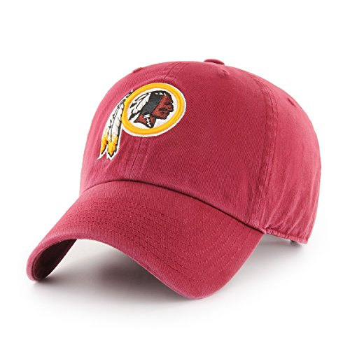 OTS NFL Washington Redskins Challenger Clean Up Adjustable Hat, Cardinal, One (Nfl Logo Cap)