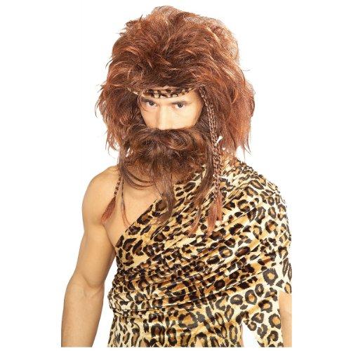 Short Brown Beard Costume (Rubie's Costume Bushy Caveman Short Beard and Wig Set, Brown, One Size)