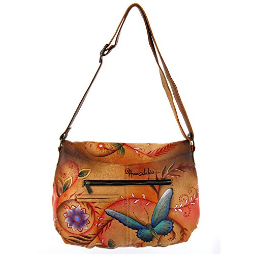 LL Large Anuschka tan Over Convertible Flying Flap Jewels OUTqfTg