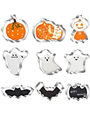 Halloween Cookie Cutter Set, 9 Pcs Stainless Steel Biscuit Cutters - Pumpkin Shaped, Bat Shaped, Ghost Shaped Cookie Cutters for Halloween Party Decorations