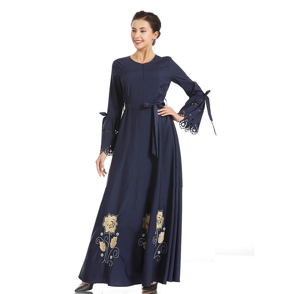 Clearance!Muslim Elegant Long Dress Women Muslim Embroidered Print Slim Elastic Waist Silk Dress Long Dress Jilbab Maxi Dress (L, Navy)