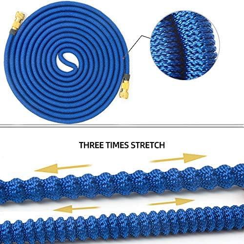 PNBHD 庭のホースメタルウォーターガンマジックホースパイプ拡張可能な水ホースガン柔軟な25フィート、100フィートカーウォッシュパイプをスプレー (色 : 白い, サイズ : 50ft)