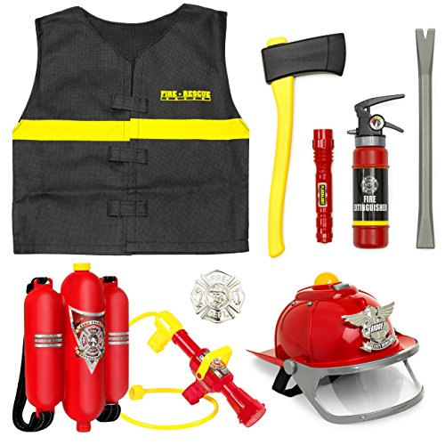 Best Choice Products 10-Piece Pretend Toy Firefighter Playset Red ()