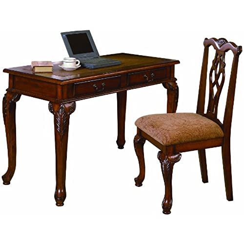 Crown Mark Fairfax Home office Desk/Chair Set - Antique Writing Desk: Amazon.com