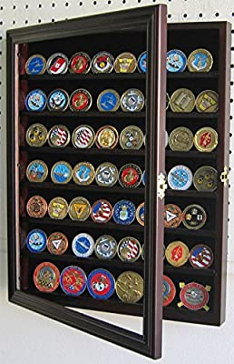 Mahogany 56 Bullion/Military Challenge Coin Display Case Cabinet Wall Rack  With Door Coin