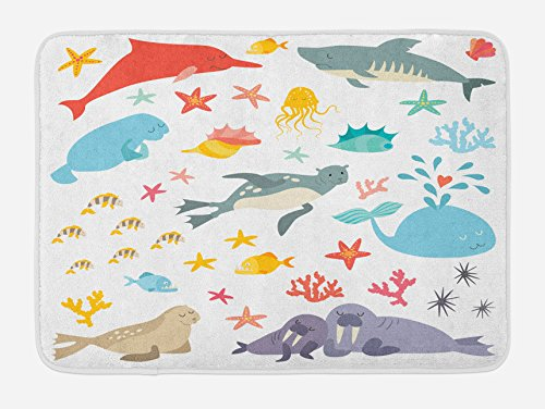 Ambesonne Ocean Bath Mat, Whale Squid Sea Lion Shark Jellyfish Clownfish Dolphin Starfish Stingrays Colorful, Plush Bathroom Decor Mat with Non Slip Backing, 29.5