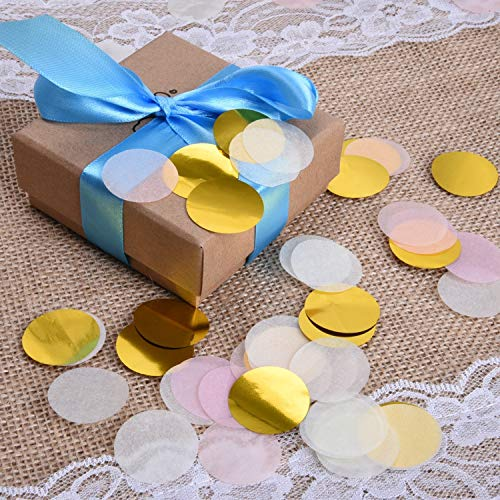 1 inch Circle Confetti - (10,000 Pieces - Pink, White, Gold) 100 Grams - Round Circle Tissue Paper Confetti for Wedding, Baby Showers, Bridal Shower, Parties, Events, Birthday, Table Confetti