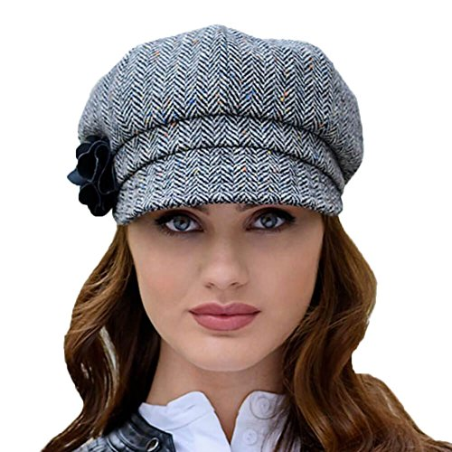 0fc3a39d Mucros Weavers Ladies Tweed Newsboy Cap, Made in Ireland, One Size Fits All,