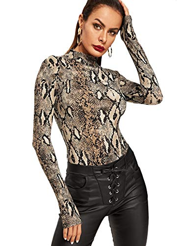 Print Snakeskin Top (MAKEMECHIC Women's Pullover Snakeskin Tops Bodysuit Long Sleeves Jumpsuit Multi M)