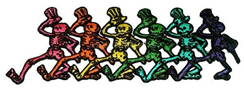 #PT110 ''9.5''''x3'''''' Grateful Dead 1000cq448z 6 Dancing Skeletons in a Row Patch fun gifts f0s8afy21190 toys accessories