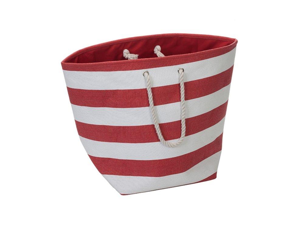 Red Stripe Jumbo Man-made Beach Tote / Hamper Straw Tote high-quality