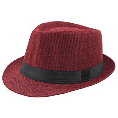 BABEYOND 1920s Panama Fedora Hat Cap for Men Gatsby Hat for Men 1920s Mens Gatsby Costume Accessories (Red) -