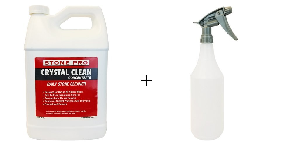 Stone Pro 1 Gallon Concentrated Crystal Clean Daily Stone Cleaner For Use on All Natural Stone - Granite, Marble, Travertine, Limestone, Terrazo and More with 32 oz. Spray Bottle with Gray Sprayer