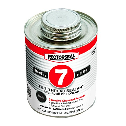 Rectorseal 17432 No. 7 Pipe Thread Sealant, 1 Pint Brush Top Can, Black
