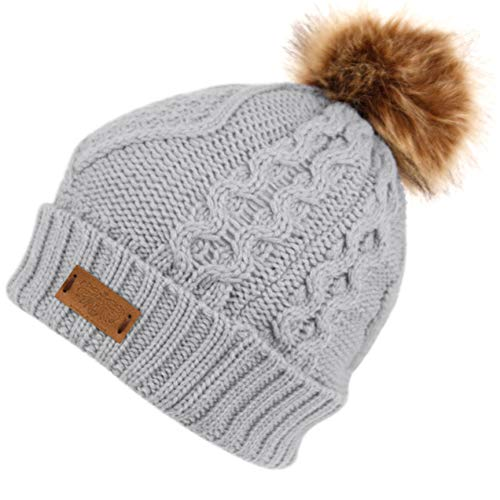 ANGELA & WILLIAM Women's Winter Fleece Lined Cable Knitted Pom Pom Beanie Hat (ASH Gray)