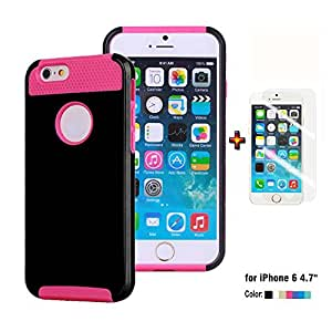 "iPhone 6 Hybrid Hard case, New TPU + Hard Shockproof Dirt Dust Proof Hard Matte Cover Case + Film for iPhone 6 4.7"""" (Hot Pink TPU/ Black Hard)"