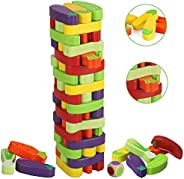 Beebeerun Colored Stacking Game for Kids Wooden Tumble Tower Blocks for Kids Adults Building Blocks Educationa