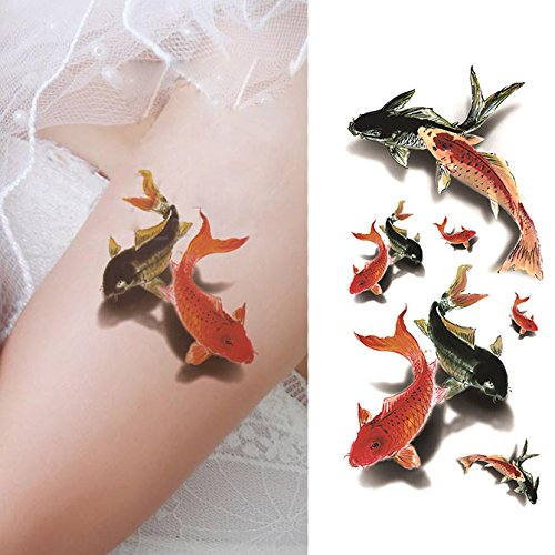 Tattoo Koi - Oottati 3D Swimming Fish - Ink Goldfish Koi Carp Hand Temporary Tattoo (2 Sheets)