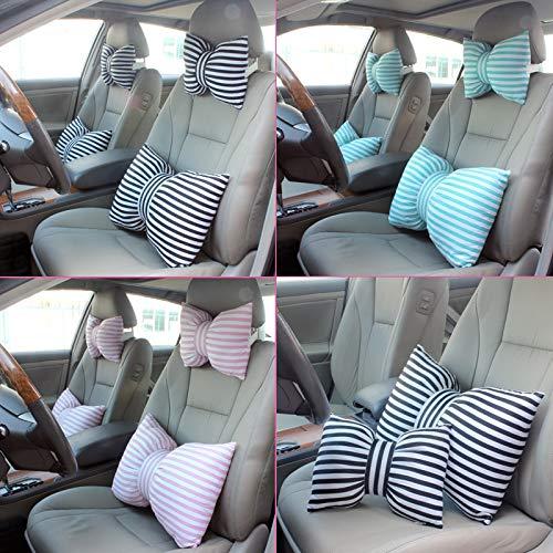 Huacel Cute Stripe Bowknot Car Neck Headrest Pillow Creative Auto Safety Seat Head Supports Cushion Waist Lumbar Support for Girls - Neck Pillow+Waist Pillow(Black)