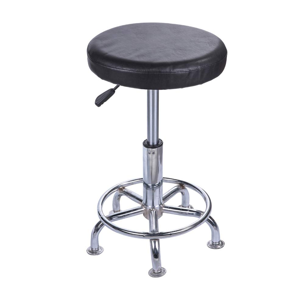 Black Color Lominc 12 Faux Leather Round Bar Stool Cover,Waterproof and Easy to Clean