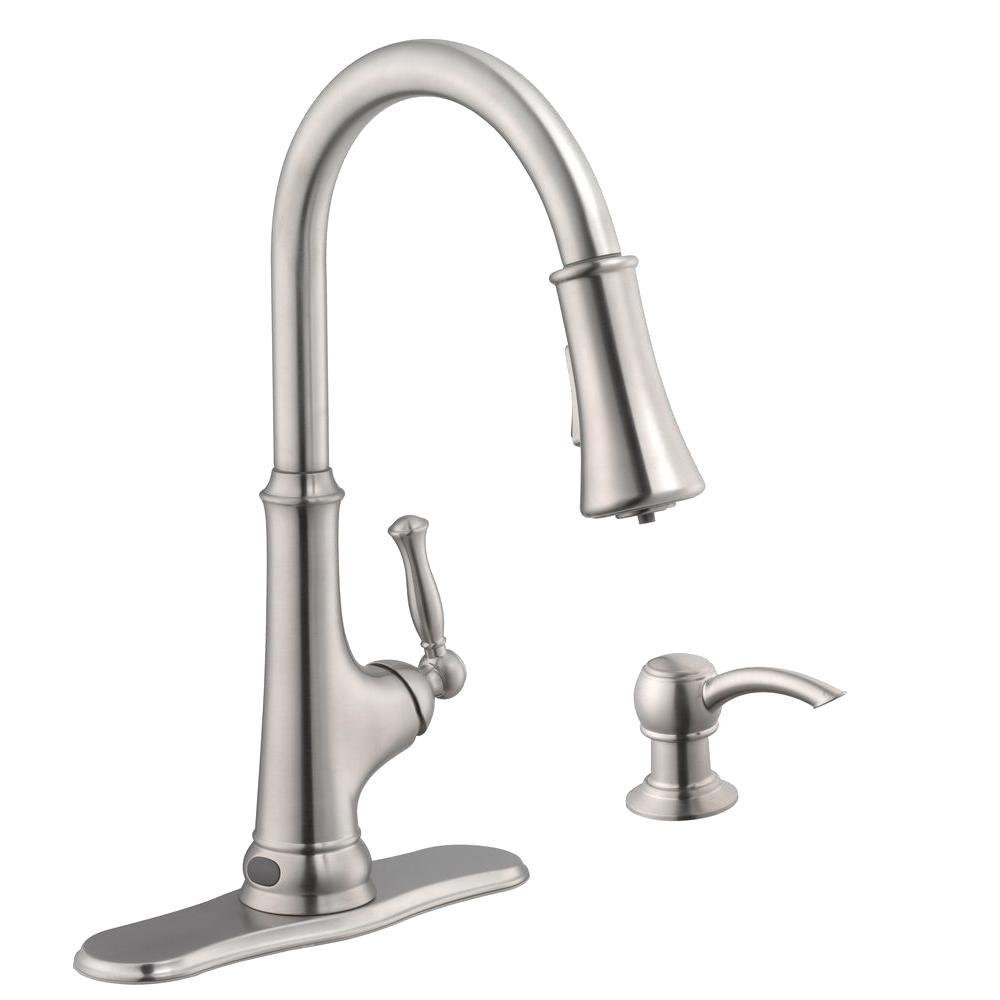 Touchless Single-Handle Pull-Down Sprayer Kitchen Faucet with LED ...