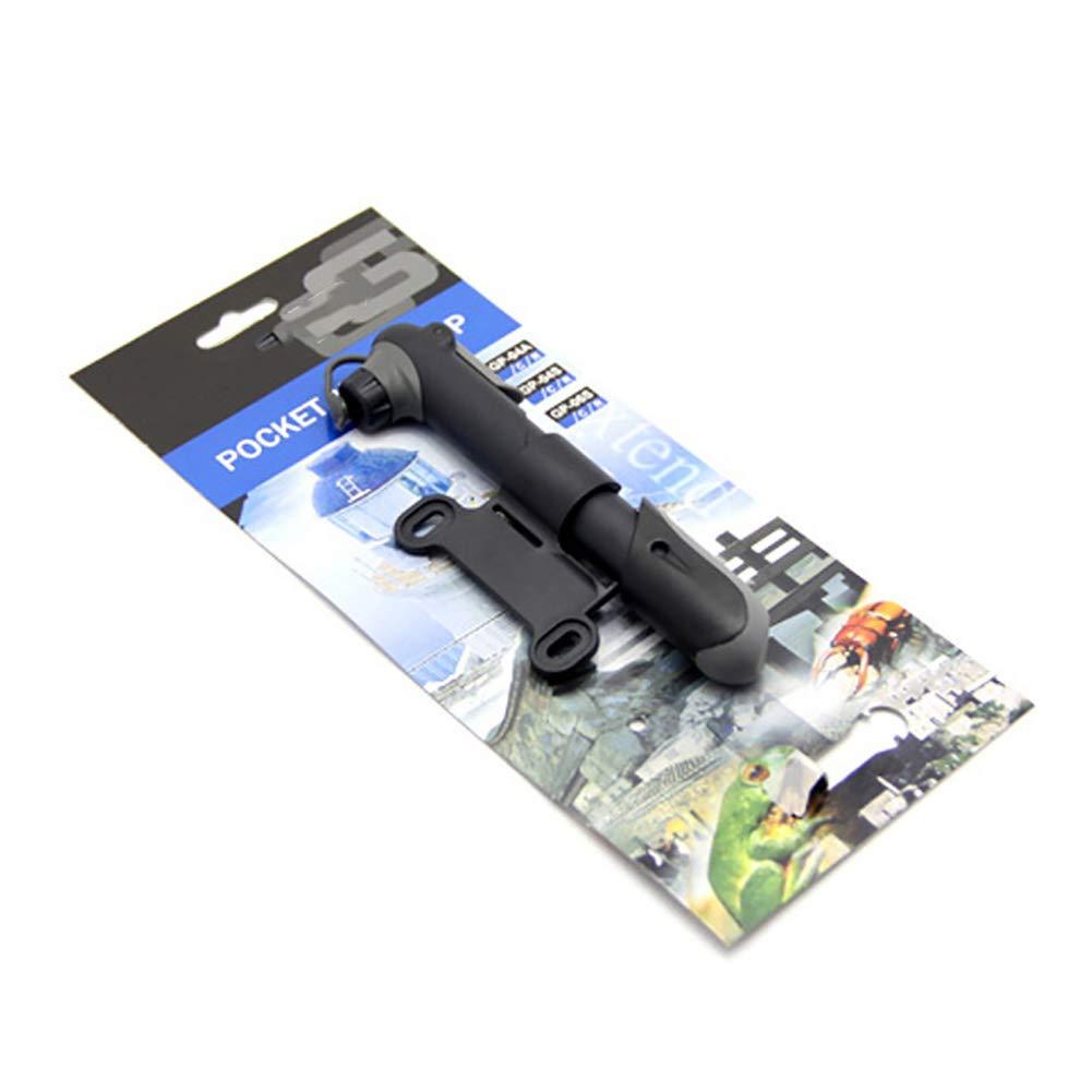 Schwarz 1PCS Kunststoff tragbare Mini-Fahrrad-Fahrrad-Gummireifen-Luftpumpe mit Manometer Halterung