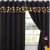 Emoji Bedding and Curtains Tony's Textiles Childrens Kids Funny Cute Blackout 2 Curtain Panels Grommet Top Emoji Black 46