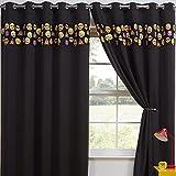 Tony's Textiles Childrens Kids Funny Cute Blackout 2 Curtain Panels Grommet Top Emoji Black 46″ Wide x 54″ Drop For Sale