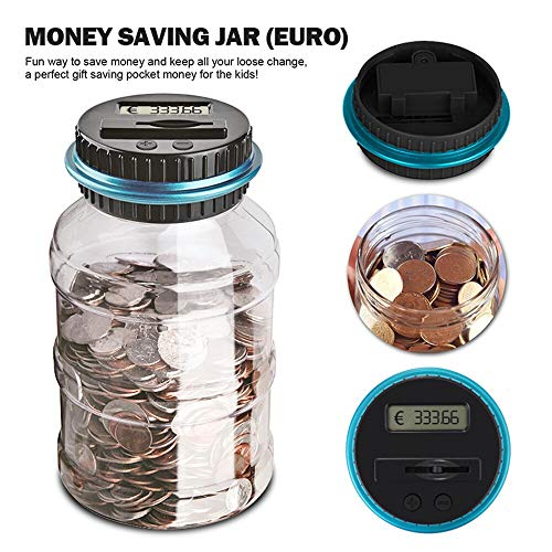(1.8L Piggy Bank Counter Coin Electronic Digital LCD Counting Coin Money Saving Box Jar Coins Storage Box (For EURO Money))