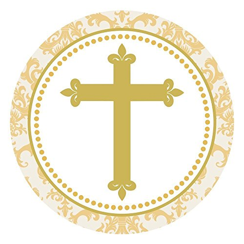 Gold Toned Cross Stickers - Christening Baptism First Holy Communion Party Favor Labels - Set of 50 (Symbol Round Stickers)